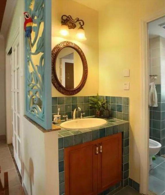 卫生间洗漱台田园风格装饰设计图片