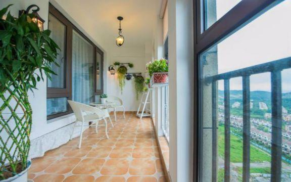 阳台地板砖田园风格装潢效果图