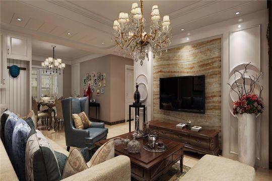 信地华地城89平美式风格三居室装修效果图