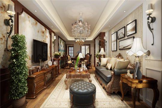 美式风格121平米三室两厅新房装修效果图