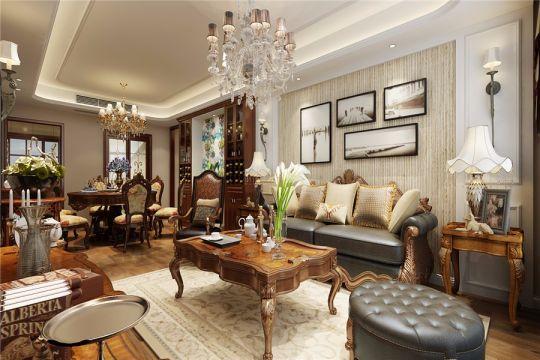 客厅推拉门美式风格装修图片