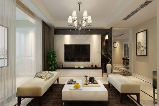 华夏名湾学府90平现代风格三居室装修效果图