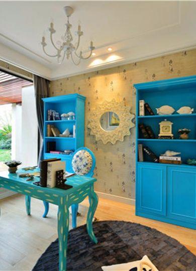 起居室书架地中海风格装修图片