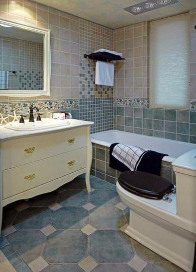 卫生间地板砖地中海风格装修设计图片