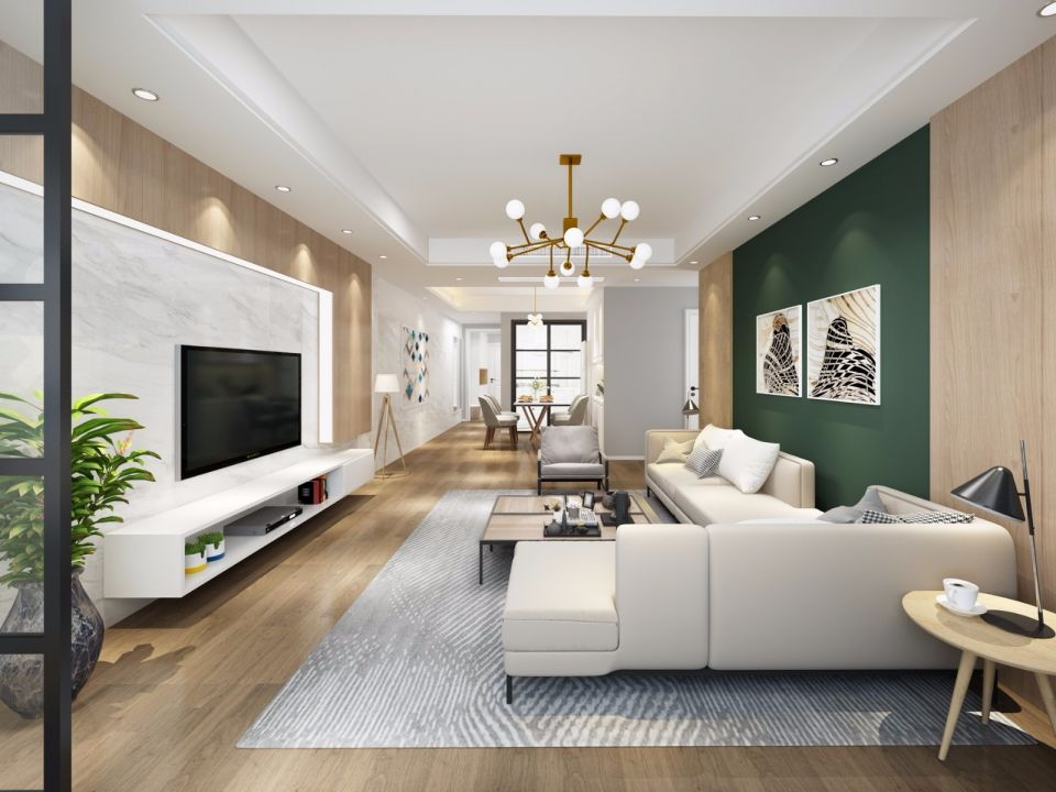奢华灰色客厅室内效果图