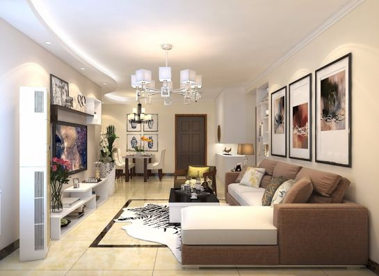 世贸原山首府122平三居室现代简约装修效果图