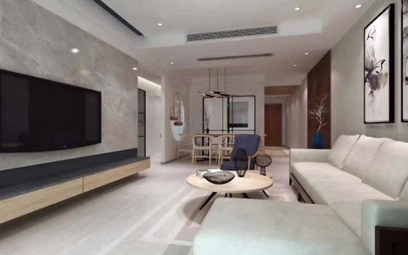 110平方新中式三房两厅装修效果图