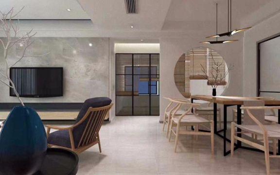 餐厅地砖新中式风格装潢设计图片