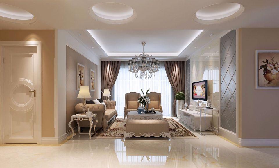 120平米三室两厅两卫简欧风格装修效果图
