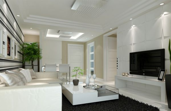125平米一居室白色系棕榈泉国际公寓装修效果图