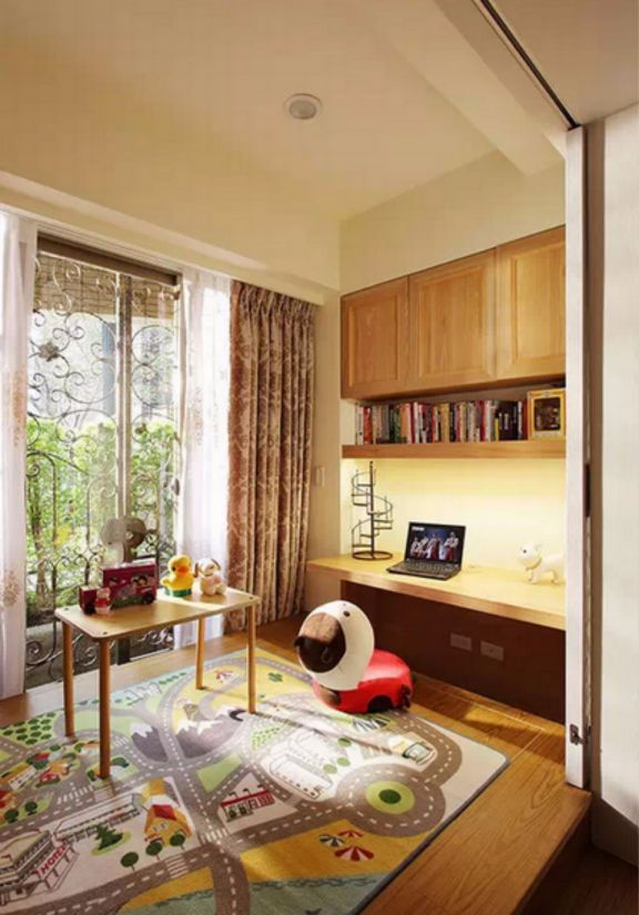 书房窗帘田园风格装饰设计图片