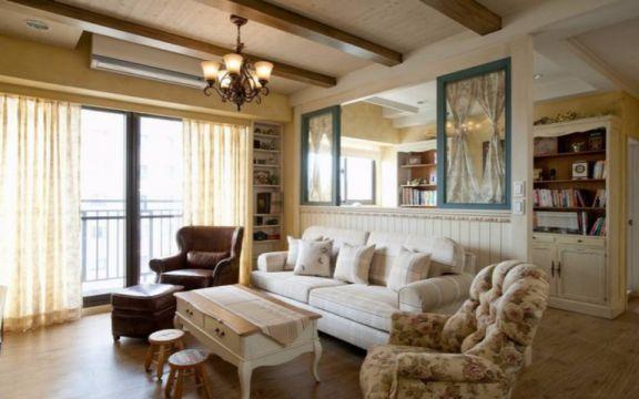 客厅沙发田园风格装修设计图片