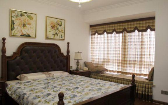 卧室床田园风格装潢图片