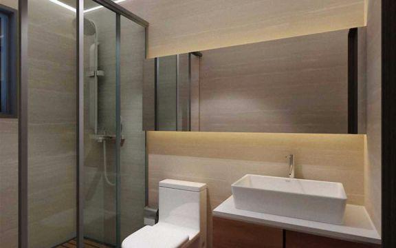 卫生间背景墙现代中式风格装饰设计图片