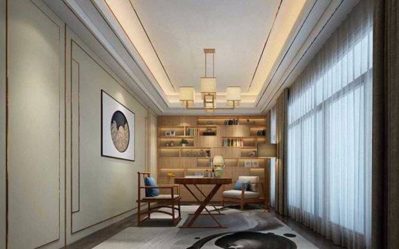 书房窗帘现代中式风格装饰图片