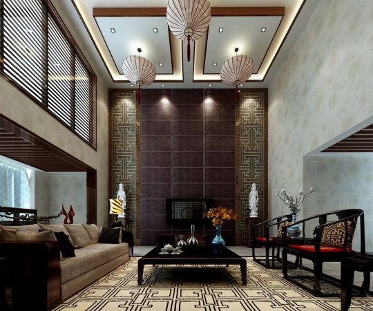 300平中式风格楼房装修效果图
