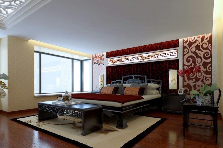 卧室床中式风格装修设计图片