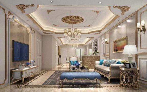 客厅米色吊顶欧式风格装饰效果图图片
