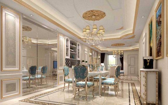 餐厅白色欧式风格装潢效果图