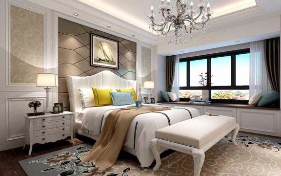 卧室咖啡色背景墙欧式风格装饰图片