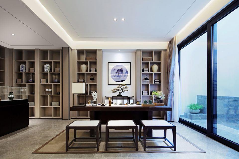书房咖啡色书桌新中式风格装潢设计图片