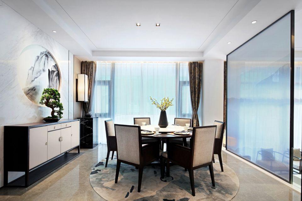 餐厅咖啡色窗帘新中式风格效果图
