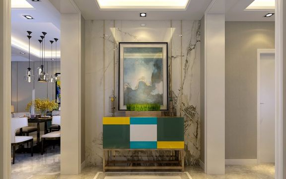 玄关彩色门厅现代简约风格装修图片