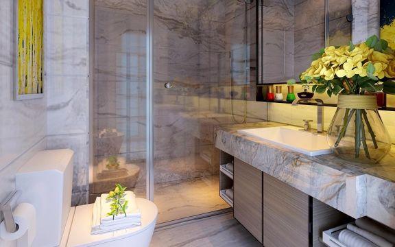 卫生间米色地砖现代简约风格装潢图片
