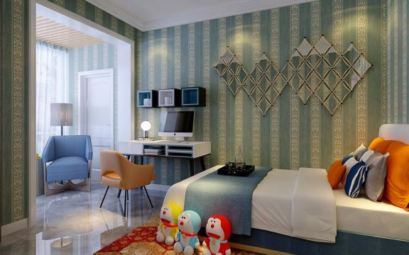 儿童房绿色背景墙现代简约风格装修设计图片
