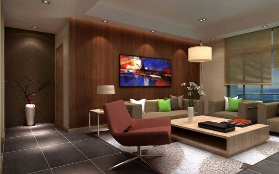 120平方现代中式三房两厅装修效果图