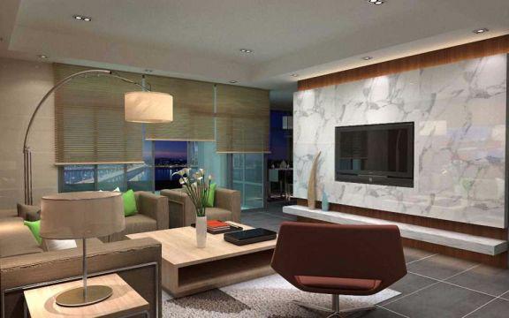 客厅白色背景墙现代中式风格效果图