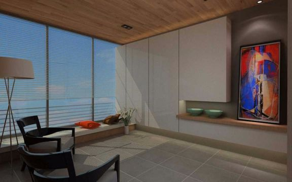 阳台灰色窗帘现代中式风格装修效果图