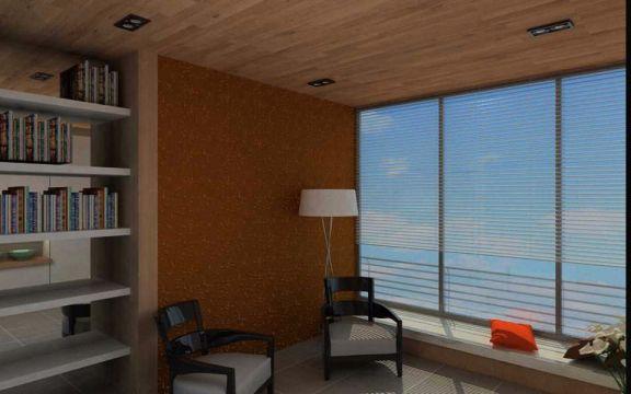 起居室米色飘窗现代中式风格装饰效果图