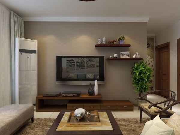 客厅灰色背景墙中式风格装潢图片