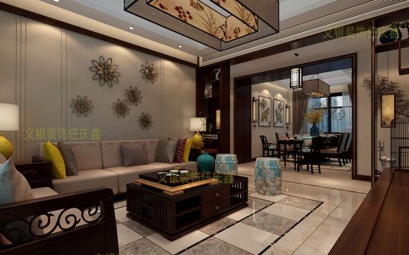 合肥萬達文化旅游城124平米三室二廳新中式風格裝修效果