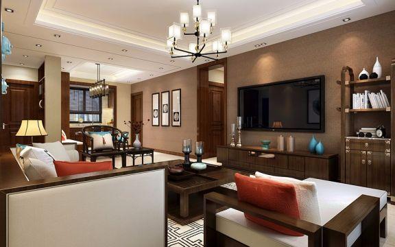 华润悦府170平米新中式风格三居室装修效果图