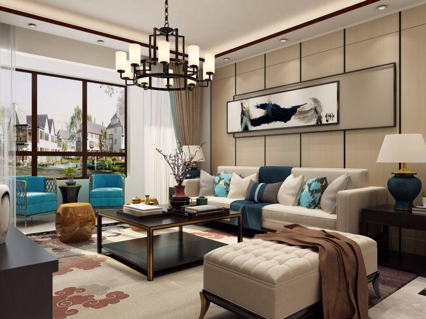 中式风格90平米两室两厅新房装修效果图