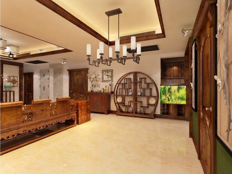 客厅博古架中式风格效果图