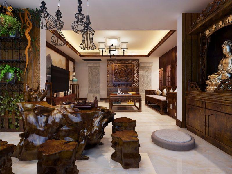客厅地砖中式风格装修效果图