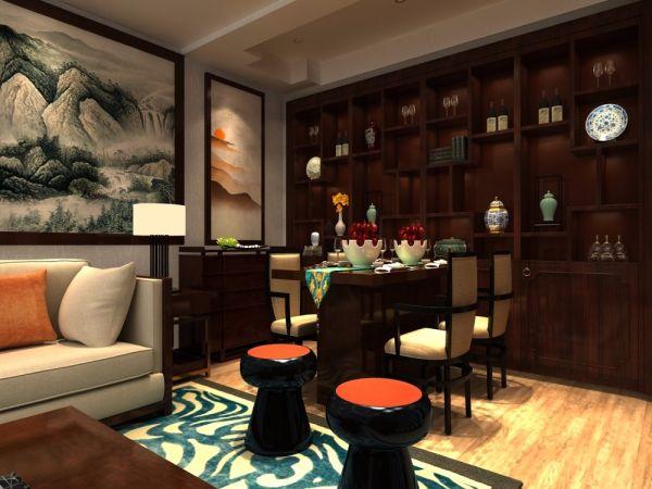 餐厅博古架中式风格装潢效果图