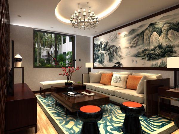 中式风格83平米两室两厅新房装修效果图