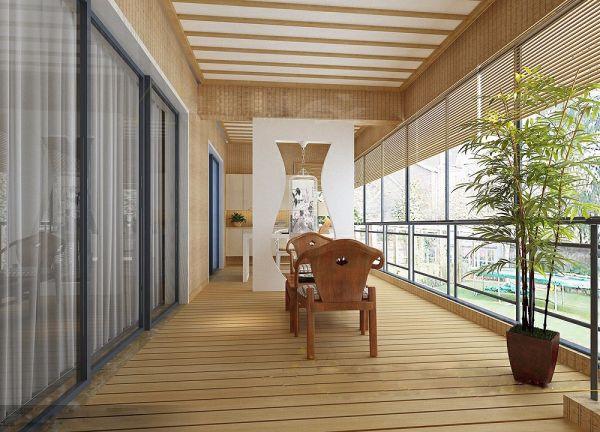 阳台地板砖新中式风格装饰效果图