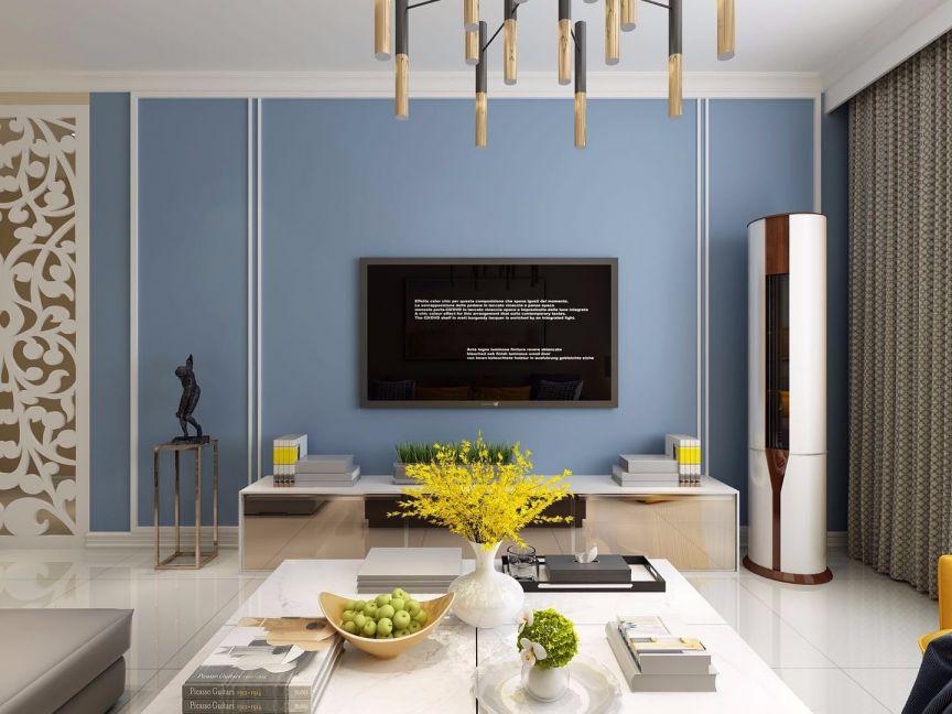 客厅背景墙简约风格装饰图片