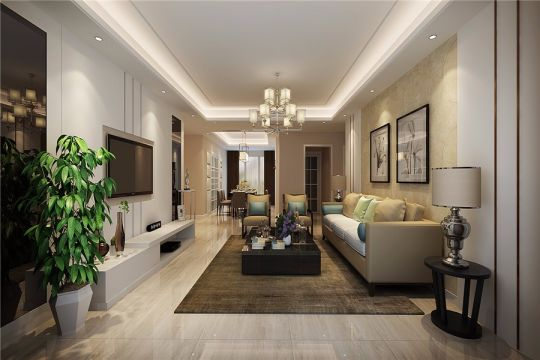 现代风格102平米三室两厅新房装修效果图
