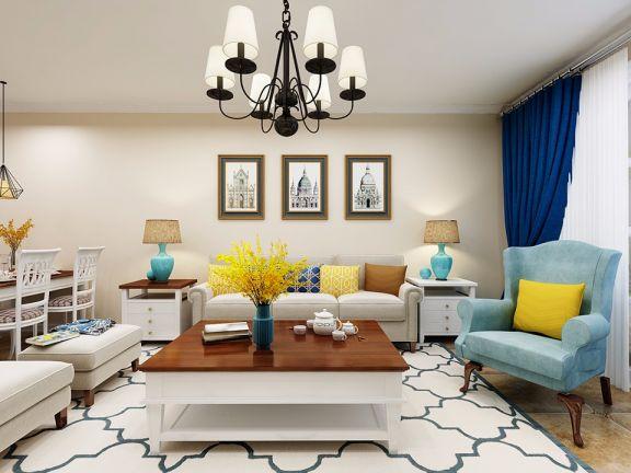 90平米现代美式风格二居室装修效果图