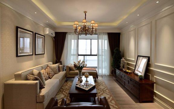 客厅落地窗美式风格装修图片
