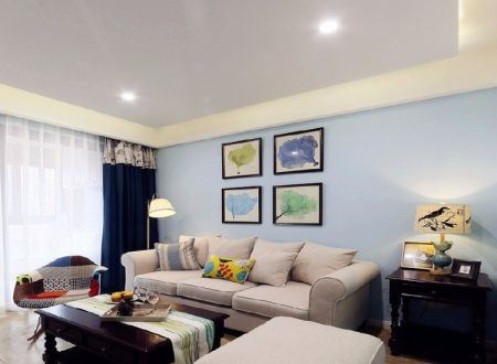 美式风格87平米两室两厅新房装修效果图