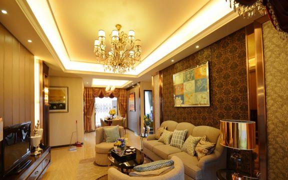 美式风格88平米三室两厅新房装修效果图