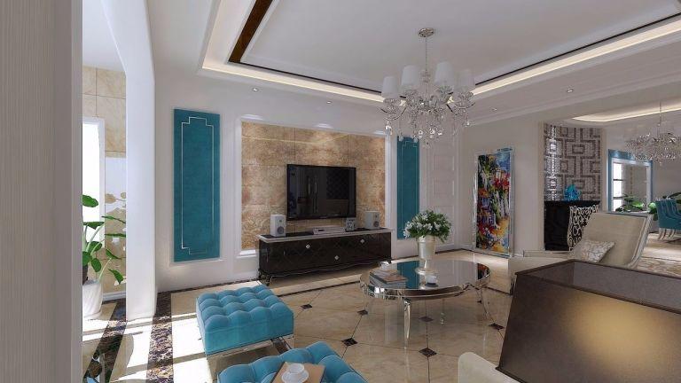 客厅地砖简欧风格效果图