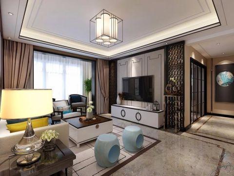 客厅白色吊顶中式风格装潢效果图